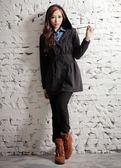 【BTIS】連帽長版女風衣外套 黑色