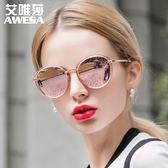 新款太陽鏡女輕盈復古炫彩膜潮墨鏡駕駛鏡偏光眼鏡圓臉三角衣櫥