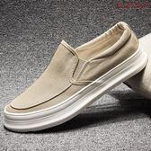 男鞋一腳蹬懶人休閒帆布鞋厚底布鞋