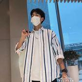 男夏季港風藍白條紋襯衫男短袖ins超火的上衣原宿bf風七分袖寸衫『夢娜麗莎精品館』