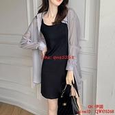 法式黑色吊帶連身裙子早秋裝女裝氣質兩件套裝夏【CH伊諾】