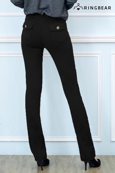 西裝褲--修長OL超彈性中腰修飾顯瘦素面微喇叭氣質長褲(黑.灰.咖S-7L)-P17眼圈熊中大尺碼