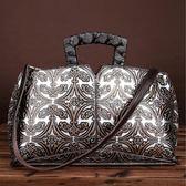 手提包-真皮手工擦色復古壓花女側背包3色73my2【巴黎精品】