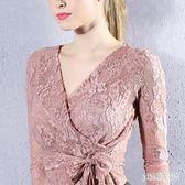 性感V領綁帶收腰蕾絲打底衫女2019秋裝新款長袖短款女式小衫上衣 XN5186『pink領袖衣社』