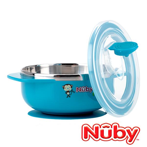Nuby 不銹鋼吸盤碗 猴子藍色款