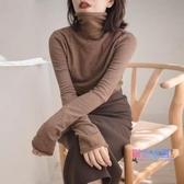 針織毛衣 加厚堆堆領打底衫女長袖秋冬高領修身羊毛針織衫洋氣內搭毛衣【快速出貨】