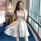 VK精品服飾 韓國風系蝴蝶結細肩帶層層蛋糕無袖洋裝