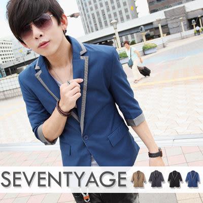 ∥柒零年代∥Sensibility【N7594J】韓系低調時尚新貴風格細格紋接領反摺袖單扣合身西裝外套(HO-VS167)
