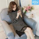 【V2813】shiny藍格子-甜美蕾絲.拼接假兩件寬鬆中長款連身裙