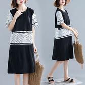 棉綢 顯瘦款拼接洋裝-中大尺碼 獨具衣格 J2588
