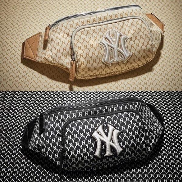 MLB KOREA 洋基經典 刺繡LOGO 卡其 黑 兩色 滿版 腰包 側背包 32BGC9911-5 BLK/32BGC9911-5 CRM
