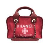 【台中米蘭站】全新品 CHANEL 度假系列 雙C LOGO 海灘布手提肩背兩用包(紅)