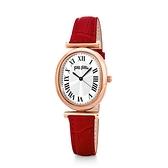 【Folli Follie】METAL CHIC城市時間羅馬橢圓時尚腕錶-赤紅款/WF18R029SPS_RE/台灣總代理公司貨享兩年保固