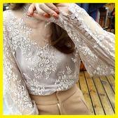 網紗打底衫女長袖薄款性感蕾絲內搭上衣