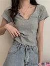 熱賣露臍上衣 設計感雞心領短袖t恤打底衫女裝夏季新款高腰短款露臍修身上衣潮【618 狂歡】