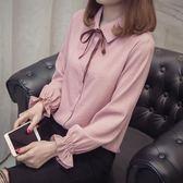2018襯衫女韓版蝴蝶結寬鬆長袖打底白襯衣