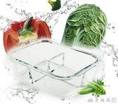 高硼硅三分隔玻璃飯盒微波爐專用保鮮盒分格便當密封碗帶蓋玻璃碗  酷男精品館