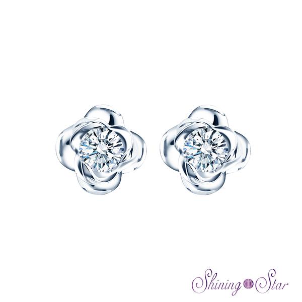 花朵晶鑽白K金耳環 Shining Star K金 飾品 耳環(俏麗優雅造型)