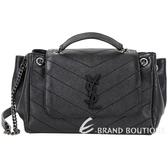 YSL Saint Laurent NOLITA 衍縫小羊皮鍊帶肩背包(黑色)1930159-01