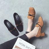 秋冬韓版粗跟方頭鞋子 絨面系帶高跟鞋子《小師妹》sm22