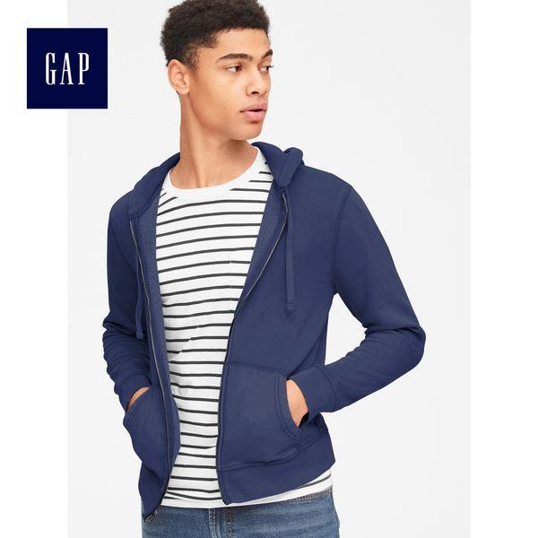 Gap男裝 柔軟復古拉鏈長袖休閒連帽外套 365878-海藍色