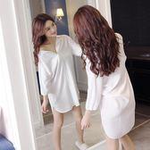 睡衣白襯衫性感韓版情趣超薄中長款睡裙