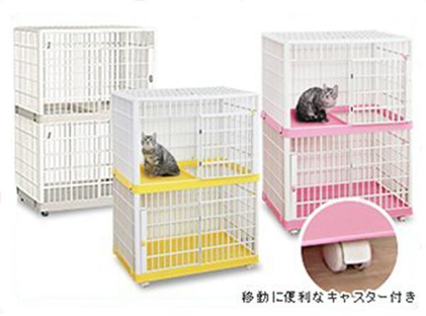 寵物家族-日本IRIS-貓籠雙層(IR-812)-黃/粉/白
