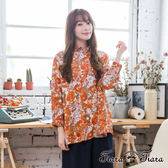 【Tiara Tiara】激安 繽紛繁花盛放純棉長袖襯衫(橘紅)