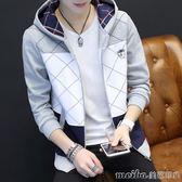 開衫衛衣男修身連帽拉鏈裝青少年休閒上衣秋季新款學生運動外套潮 美芭
