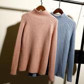 毛衣新款秋冬慵懶高領毛衣女套頭寬松學生加厚針織衫長袖純色上衣「爆米花」