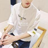 棉麻上衣  亞麻短袖t恤男士寬鬆棉麻五分半截袖韓版青少年學生中袖潮流 『伊莎公主』