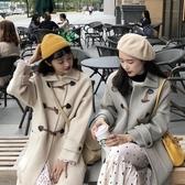 2019秋冬新款寬鬆牛角扣韓版加厚呢子大衣中長款閨蜜裝毛呢外套女