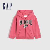 Gap女幼童 Gap x Disney 迪士尼系列印花刷毛連帽休閒上衣 731828-粉色