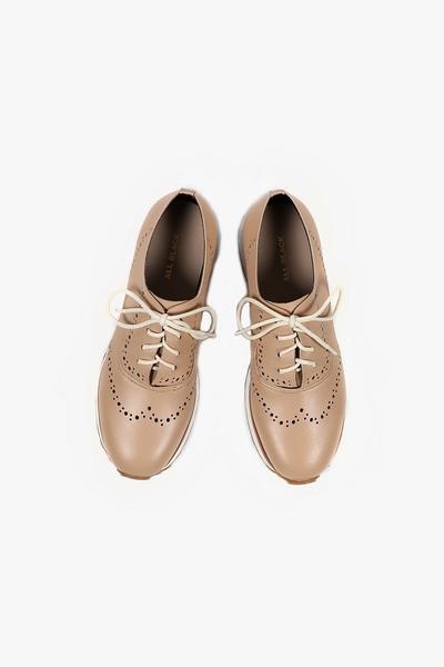 ALL BLACK   沖孔楔型鞋(米色)