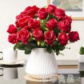 歐式仿真花束絹花套裝擺件客廳餐桌仿真花乾花盆栽擺設裝飾花藝新房  米菲良品