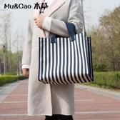 環保袋帆布大容量購物袋折疊便攜防水買菜包韓國學生校園手提袋女