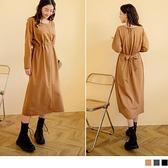 《DA8159》純色含棉寬鬆收腰綁帶長袖洋裝 OrangeBear