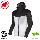 【MAMMUT 瑞士 男 Convey WB AF防潑水風衣《黑/白》】1012-00190/薄外套