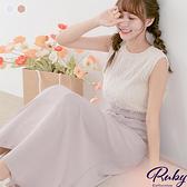 洋裝 羽毛縮腰圓領無袖長洋裝-Ruby s 露比午茶