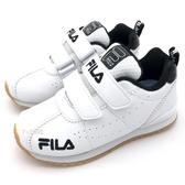 《7+1童鞋》FILA  2-J828T-511   貴族氣息  皮面   魔鬼氈  機能運動鞋 4266  白色
