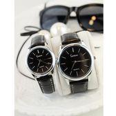 新款韓版簡約刻度錶盤皮帶情侶手錶時尚女錶復古男錶石英錶學生錶