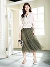 單一優惠價[H2O]羅紋背心上衣拼接多層抽褶長紗裙洋裝 - 綠/黑/白色 #0684006