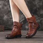 平底短靴 真皮手工短靴 擦色魔術貼短靴/2色-夢想家-標準碼-0910