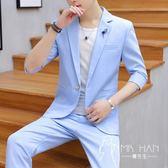 西裝外套  夏季男士西服韓版修身休閑一套薄款發型師潮流帥氣套裝小西裝外套