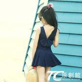 女童泳衣 泡溫泉兒童泳衣女童連體泳裝小中大童可愛韓國學生游泳衣