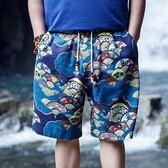 男裝夏季花色休閒短褲青年文藝復古沙灘褲寬鬆大碼五分潮褲   夢曼森居家