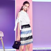 夏季女裝新款休閑甜美公主風撞色蕾絲半身短裙A字裙 多莉絲旗艦店