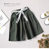 純棉 女童 蕾絲綁帶墨綠文藝寬鬆A字褲裙 親子裝 舒適 文青 氣質 優雅 軍綠 寬褲 女童短褲