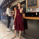VK精品服飾 韓國風V領收腰顯瘦長裙無袖洋裝