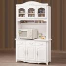 【森可家居】卡蜜拉白色4尺碗碟櫃 (全組) 7ZX826-4 餐櫃 收納廚房櫃 法式 鄉村風